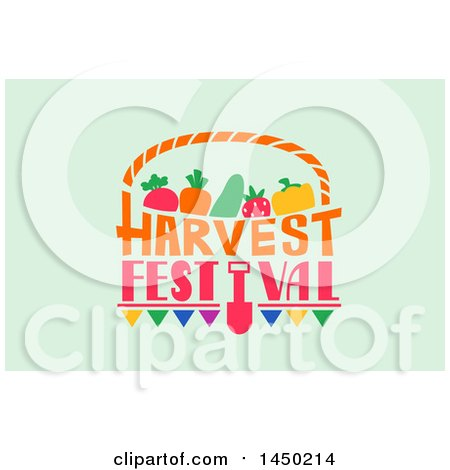 Clipart Graphic of a Harvest Festival Text Design on Pastel Green - Royalty Free Vector Illustration by BNP Design Studio
