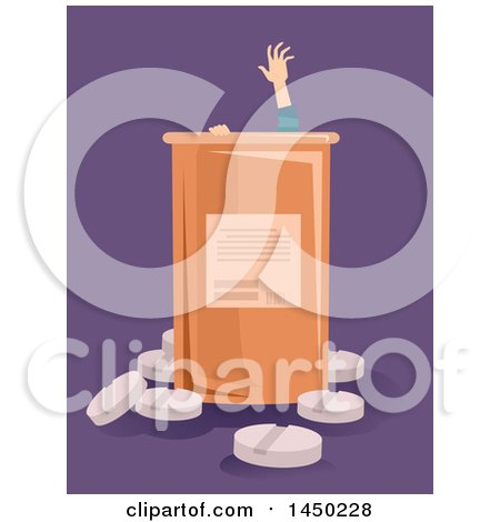 Clipart Graphic of a Drug Addict Reaching for Help from a Giant Pill Bottle, over Purple - Royalty Free Vector Illustration by BNP Design Studio