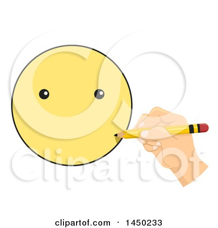 Clipart Graphic of a Child's Hand Drawing a Smiley Face - Royalty ...