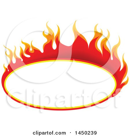 Clipart Graphic of a Fiery Hot Flaming Flame Oval Design Element - Royalty Free Vector Illustration by dero