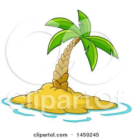 Clipart Graphic of a Cartoon Lone Palm Tree on a Tropical Island - Royalty Free Vector Illustration by yayayoyo