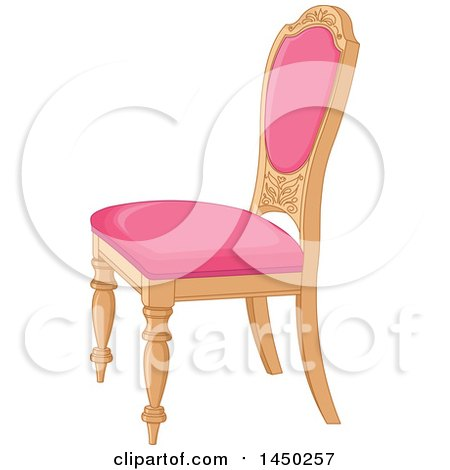 Clipart Graphic of a Wood and Pink Cushioned Palace Chair - Royalty Free Vector Illustration by Pushkin