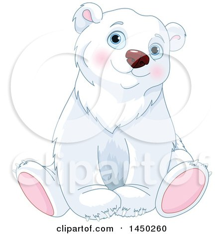 Clipart Graphic of a Cute Adorable Sitting Polar Bear - Royalty Free Vector Illustration by Pushkin