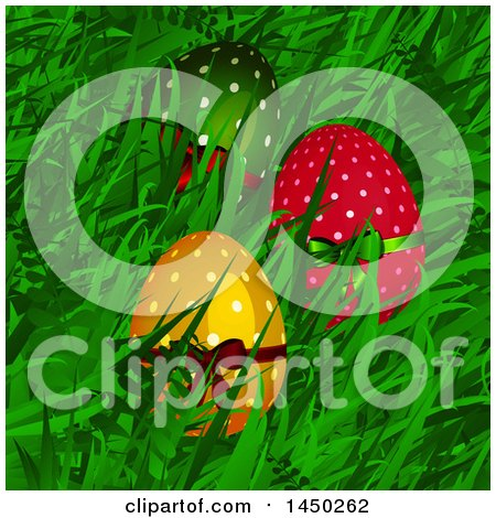Clipart Graphic of Colorful Polka Dot Easter Eggs with Bows Nestled in Grass - Royalty Free Vector Illustration by elaineitalia
