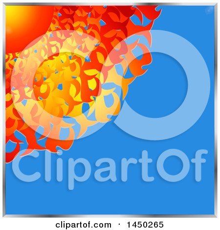 Clipart Graphic of a Hot Flaming Sun in a Corner of a Blue Sky, with Metal Borders - Royalty Free Vector Illustration by elaineitalia