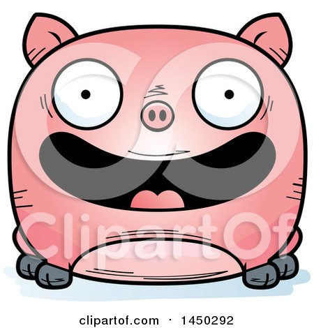 Clipart Graphic of a Cartoon Happy Pig Character Mascot - Royalty Free Vector Illustration by Cory Thoman