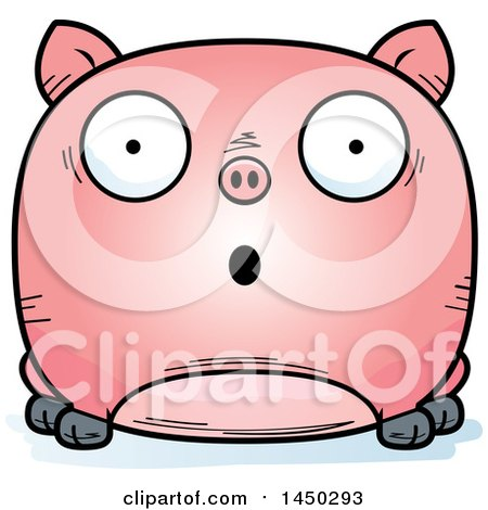 Clipart Graphic of a Cartoon Surprised Pig Character Mascot - Royalty Free Vector Illustration by Cory Thoman