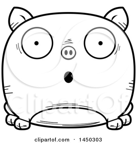 Clipart Graphic of a Cartoon Black and White Lineart Surprised Pig Character Mascot - Royalty Free Vector Illustration by Cory Thoman