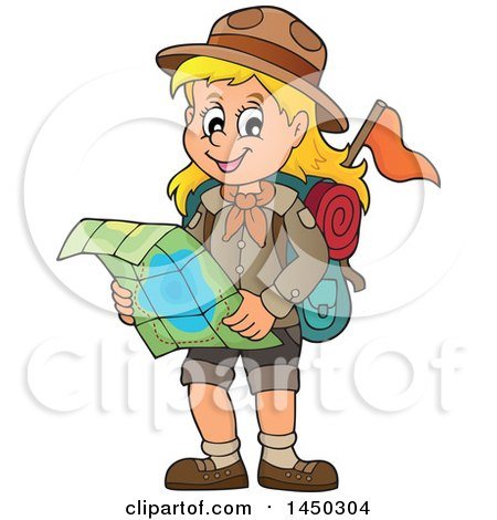 Clipart Graphic of a Hiking Scout Girl Reading a Map - Royalty Free Vector Illustration by visekart