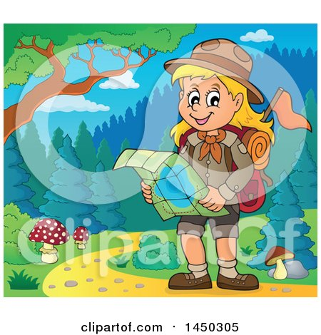 Clipart Graphic of a Hiking Scout Girl Reading a Map on a Trail - Royalty Free Vector Illustration by visekart