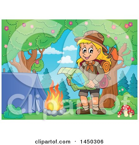 Clipart Graphic of a Hiking Scout Girl Reading a Map by a Campfire - Royalty Free Vector Illustration by visekart