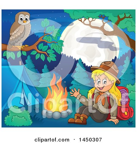 Clipart Graphic of a Camping Scout Girl Waving by a Camp Fire, with an Owl Perched on a Branch - Royalty Free Vector Illustration by visekart