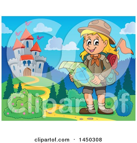 Clipart Graphic of a Hiking Scout Girl Reading a Map near a Castle - Royalty Free Vector Illustration by visekart