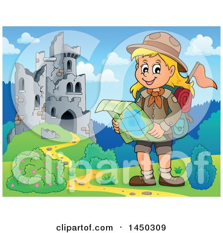 Clipart Graphic of a Hiking Scout Girl Reading a Map near Castle Ruins - Royalty Free Vector Illustration by visekart