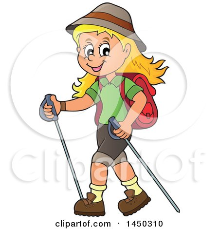 Clipart Graphic Of A Happy Girl Hiking With Poles Royalty Free Vector Illustration
