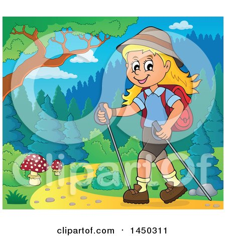 Clipart Graphic of a Happy Girl Hiking on a Path with Poles - Royalty Free Vector Illustration by visekart