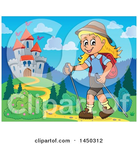 Clipart Graphic of a Happy Girl Hiking near a Castle with Poles - Royalty Free Vector Illustration by visekart