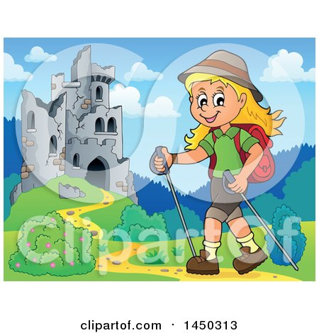 Clipart Graphic of a Happy Girl Hiking near Castle Ruins with Poles - Royalty Free Vector Illustration by visekart