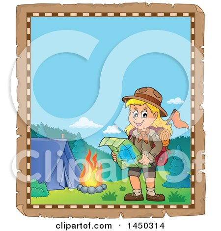 Clipart Graphic of a Parchment Border of a Hiking Scout Girl Reading a Map by a Campfire - Royalty Free Vector Illustration by visekart