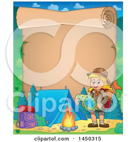 Clipart Graphic of a Parchment Scroll Border of a Hiking Scout Girl Reading a Map by a Campfire - Royalty Free Vector Illustration by visekart
