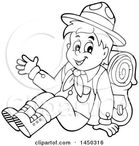 Clipart Graphic of a Black and White Lineart Happy Hiking Scout Boy Sitting and Waving - Royalty Free Vector Illustration by visekart