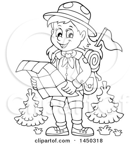 Clipart Graphic Of A Black And White Lineart Hiking Scout Girl Reading Map