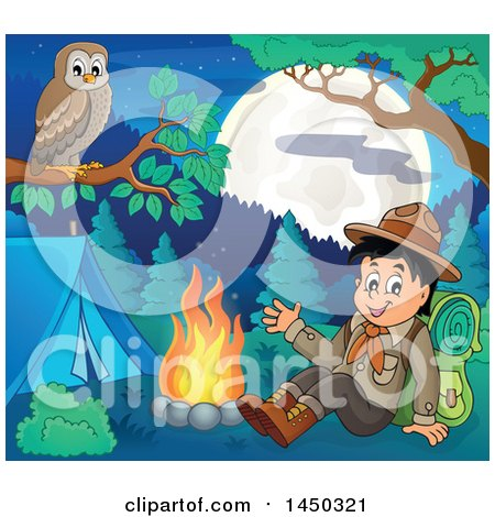 Clipart Graphic of a Happy Hiking Scout Boy Sitting and Waving by a Camp Fire, with a Perched Owl - Royalty Free Vector Illustration by visekart