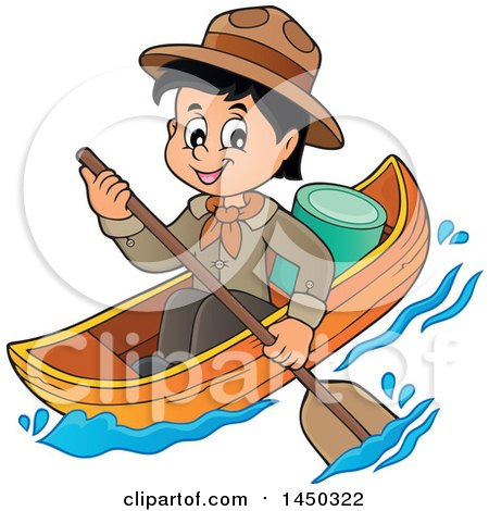 Clipart Graphic of a Happy Scout Boy Rowing a Boat - Royalty Free Vector Illustration by visekart