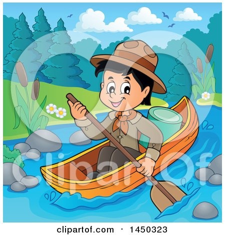 Clipart Graphic of a Happy Scout Boy Rowing a Boat down a River - Royalty Free Vector Illustration by visekart