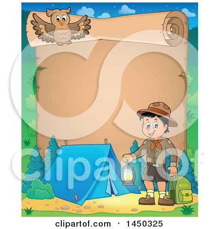 Clipart Graphic of a Parchment Scroll Border of a Scout Boy Holding a Lantern and Backpack at a Camping Site - Royalty Free Vector Illustration by visekart