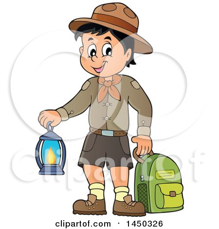 Clipart Graphic of a Scout Boy Holding a Lantern and Backpack - Royalty Free Vector Illustration by visekart