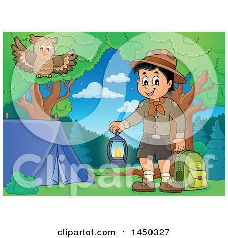 Clipart Graphic of a Scout Boy Holding a Lantern and Backpack at a Camping Site - Royalty Free Vector Illustration by visekart
