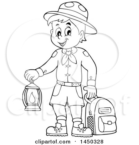 Clipart Graphic of a Black and White Lineart Scout Boy Holding a Lantern and Backpack - Royalty Free Vector Illustration by visekart