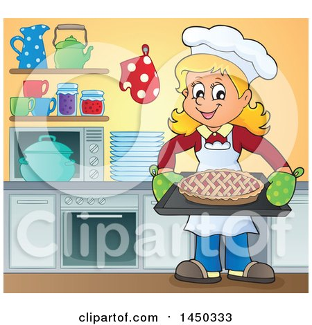 Clipart Graphic of a Happy Woman Baking a Pie in a Kitchen - Royalty Free Vector Illustration by visekart