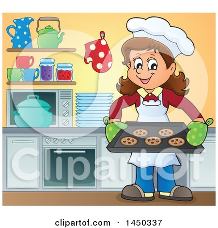 Clipart Graphic of a Happy Woman Baking Chocolate Chip Cookies in a Kitchen - Royalty Free Vector Illustration by visekart