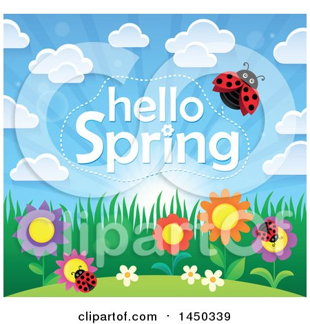 Clipart Graphic of a Hello Spring Text Design with Flowers and Ladybugs - Royalty Free Vector Illustration by visekart