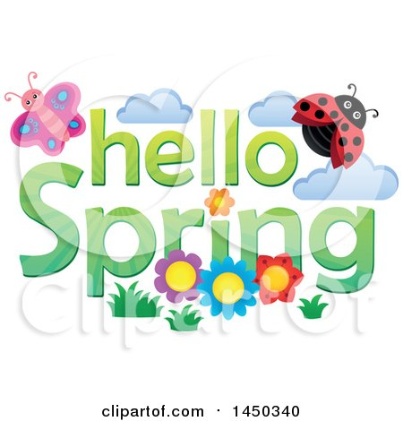 Clipart Graphic of a Hello Spring Text Design with Flowers, a Butterfly and Ladybug - Royalty Free Vector Illustration by visekart