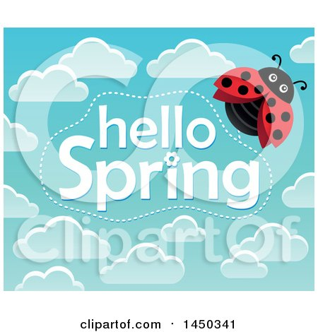 Clipart Graphic of a Hello Spring Text Design with Clouds and a Ladybug - Royalty Free Vector Illustration by visekart