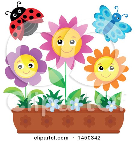 Clipart Graphic of a Butterfly, Ladybug and Spring Flowers in a Garden - Royalty Free Vector Illustration by visekart