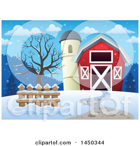 Clipart Graphic of a Red Barn and Silo in the Winter - Royalty Free Vector Illustration by visekart