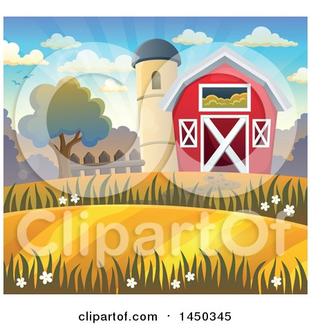 Clipart Graphic of a Red Barn and Silo in Autumn - Royalty Free Vector Illustration by visekart