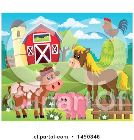 Clipart Graphic of a Horse, Pig, Cow and Chicken in Front of a Red Barn and Silo in the Spring or Summer - Royalty Free Vector Illustration by visekart