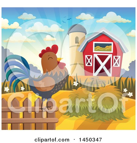 Clipart Graphic of a Rooster Crowing at Sunrise, Against a Red Barn and Silo in Autumn - Royalty Free Vector Illustration by visekart