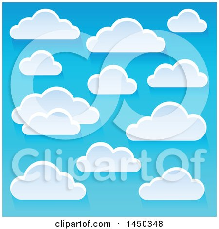 Clipart Graphic of a Background of Puffy White Clouds in a Blue Sky - Royalty Free Vector Illustration by visekart