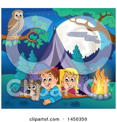 Clipart Graphic of a Dog and Kids in a Camping Tent - Royalty Free Vector Illustration by visekart