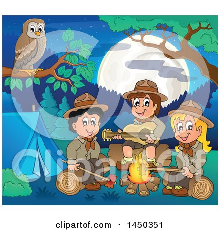 Clipart Graphic of a Group of Scout Kids Hanging Around a Camp Fire - Royalty Free Vector Illustration by visekart