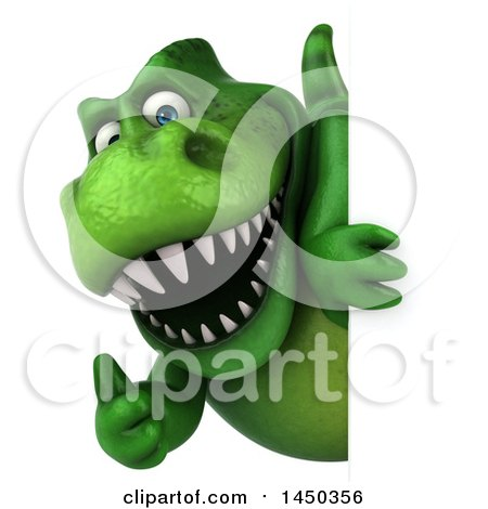 Clipart Graphic of a 3d Green Tommy Tyrannosaurus Rex Dinosaur Mascot Looking Around a Sign, on a White Background - Royalty Free Illustration by Julos