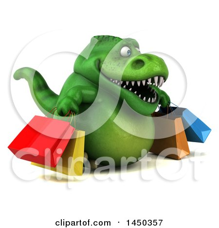 Clipart Graphic of a 3d Green Tommy Tyrannosaurus Rex Dinosaur Mascot Carrying Shopping Bags, on a White Background - Royalty Free Illustration by Julos
