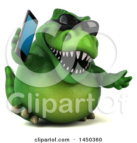 Clipart Graphic of a 3d Green Tommy Tyrannosaurus Rex Dinosaur Mascot Talking on a Smart Phone, on a White Background - Royalty Free Illustration by Julos