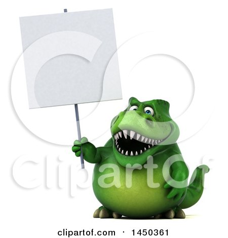 Clipart Graphic of a 3d Green Tommy Tyrannosaurus Rex Dinosaur Mascot Holding a Blank Sign, on a White Background - Royalty Free Illustration by Julos